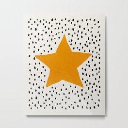Star, Mid century modern kids wall art, Nursery room Metal Print