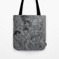 shingeki no kyojin Tote Bags featuring shingeki no cuddle pile by ladynorthstar