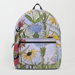 Wildflower Garden Watercolor Flower Illustration Backpack