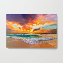 Orange Sunset Landscape Red Purple Green Sea Waves Art Metal Print