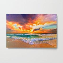 Orange Sunset Landscape Red Purple Green Sea Waves Art Metal Print