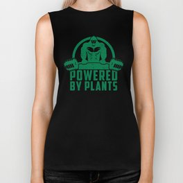 Powered By Plants Vegan Gorilla - Funny Workout Quote Gift Biker Tank
