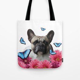 Pug with butterflies and Gerbera Flowers Tote Bag
