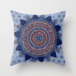 Baroque Lapis Mandala Throw Pillow