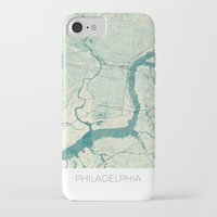 philadelphia iPhone & iPod Cases featuring Philadelphia Map Blue Vintage by City Art Posters