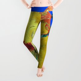 Birthday Acrylic Yellow Orange Hibiscus Flower Painting with Red and Green Leaves Leggings
