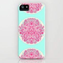Spring Arrangement - floral doodle in pink & mint iPhone Case