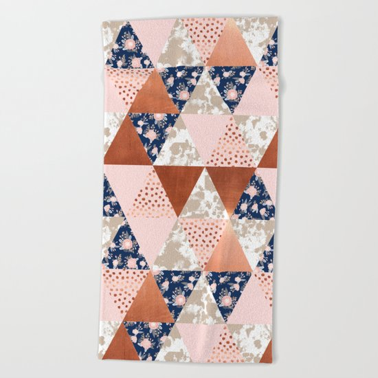 Floral bouquet pastel navy pink florals painted quilt metallic pattern basic minimal quilt pattern Beach Towel