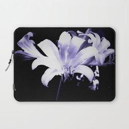 White Lily On Black Background Laptop Sleeve