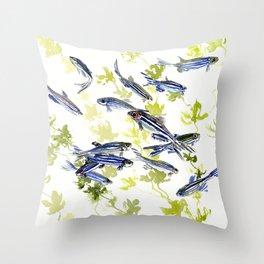 Fish Blue green fish design zebra fish, Danio aquarium Aquatic design underwater scene Throw Pillow