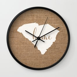 South Carolina is Home - White on Burlap Wall Clock
