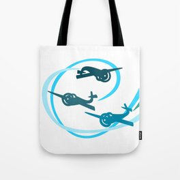 Blue Aerobatic Planes Tote Bag