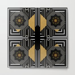 Modern Gold Black White Geometrical Multi Pattern Metal Print