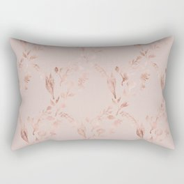Elegant glam mauve pink rose gold floral pattern Rectangular Pillow