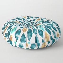 Glitter Dahlia in Gold, Aqua and Ocean Green Floor Pillow
