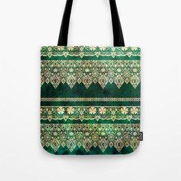 Vintage lace on Green velvet. Tote Bag