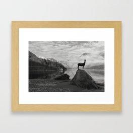Deer statue.Bohinj Lake, Slovenia. Triglav national park Framed Art Print