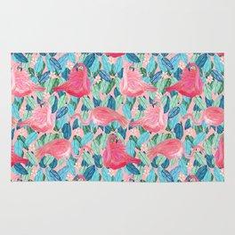 Tropical Flamingo watercolor Rug