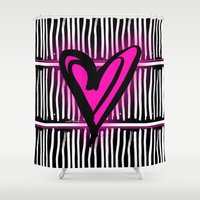 artsy Shower Curtains featuring Artsy Heart by Kathy Morton Stanion