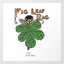 Cartoon Fig Leaf Rag Art Print