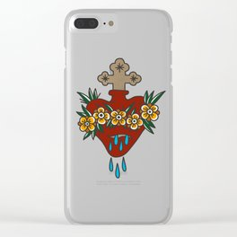 Sacred Heart with Flowers Clear iPhone Case