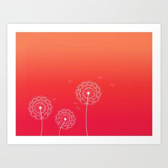 Dandelions and sunset Art Print