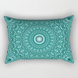 Turquoise Geometric Floral Mandala Rectangular Pillow