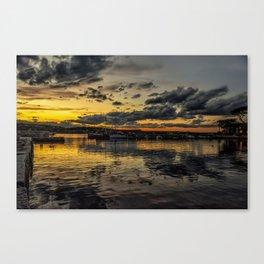 Sunset at Back harbor Rockport Canvas Print