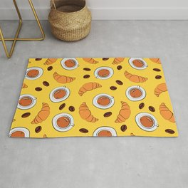 Coffee and croissant breakfast pattern on yellow background Rug