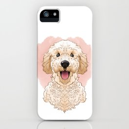 Golden Doodle Stylized Print, Pet Portrait and Gift iPhone Case