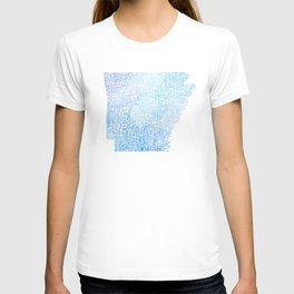 Typographic Arkansas - Blue Watercolor map T-shirt