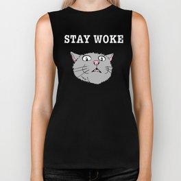 Stay Woke Cat Funny Kitty Biker Tank