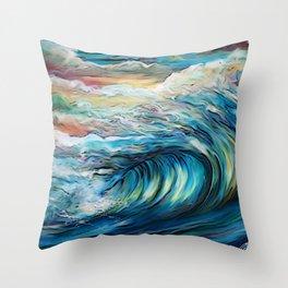 The Rainbow Wave Throw Pillow