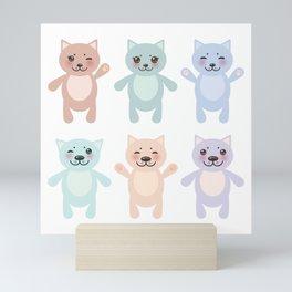 funny cats, pastel colors on white background Mini Art Print