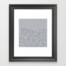 Abstract Outline Grid Grey Framed Art Print