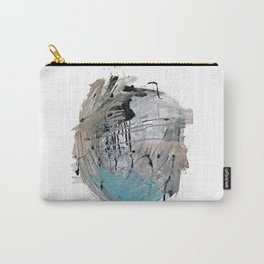 Riptide: an abstract mixed media piece in black, white, brown and blue Carry-All Pouch