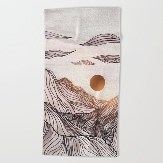Lines in the mountains Beach Towel