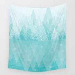 Geometric Lake Mountain IV - Winter Wall Tapestry