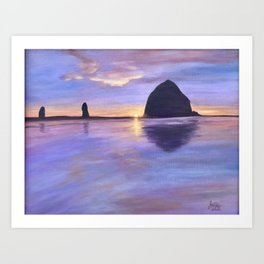 Sunset at Haystack Rock Art Print