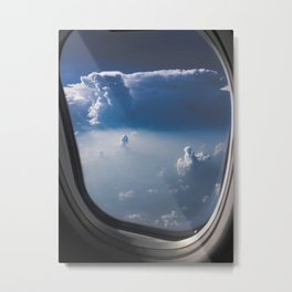 cloudy sky through aeroplane window Metal Print