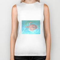 sea turtle Biker Tanks featuring Turtle by Victoria Bladen