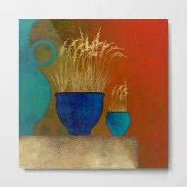 Blue Pottery Still Life Metal Print