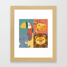 Jungle Animals Wall Art Print - Nursery Room Decor / Children's Room Decor / New baby Gift Framed Art Print
