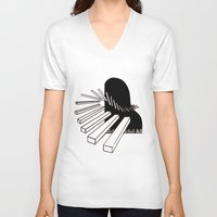 piano V-neck T-shirts featuring Piano by PSimages