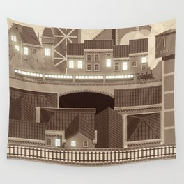 Townscape Vintage Wall Tapestry