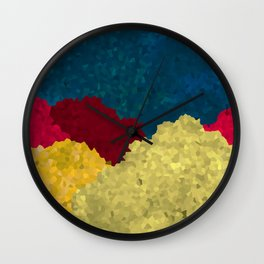 Abstract Mosaic Mountains Art With Vibrant Golden Texture Wall Clock
