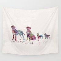 labrador Wall Tapestries featuring Labrador family by Watercolorist