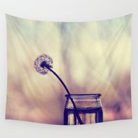 dandelion Wall Tapestries featuring dandelion by Ingrid Beddoes