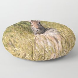 Cute and Curious Eastern Cottontail Rabbit in the Long Grass Floor Pillow