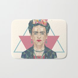 Pastel Frida - Geometric Portrait with Triangles Bath Mat